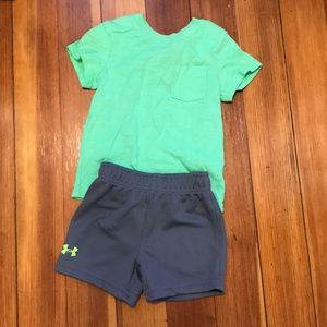 18 months under armor  shorts and green top